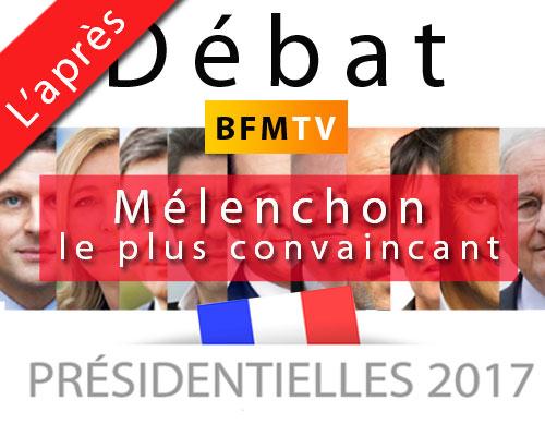 Le débat d'hier le 4 avril à 20h40 réserve bien des surprise, car c'est Mélenchon qui tire son épingle du jeux des 11 familles politiques.
