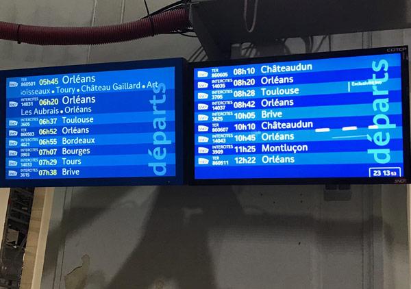 Arrivées et départ trains Sncf