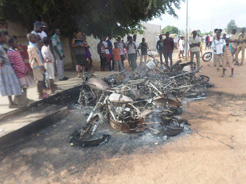 Motos en feu Bouaké Grève