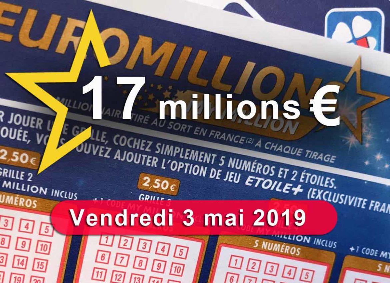 Tirage Euromillions du vendredi 3 mai 2019