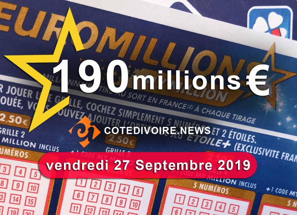 Cagnotte vendredi 190 millions