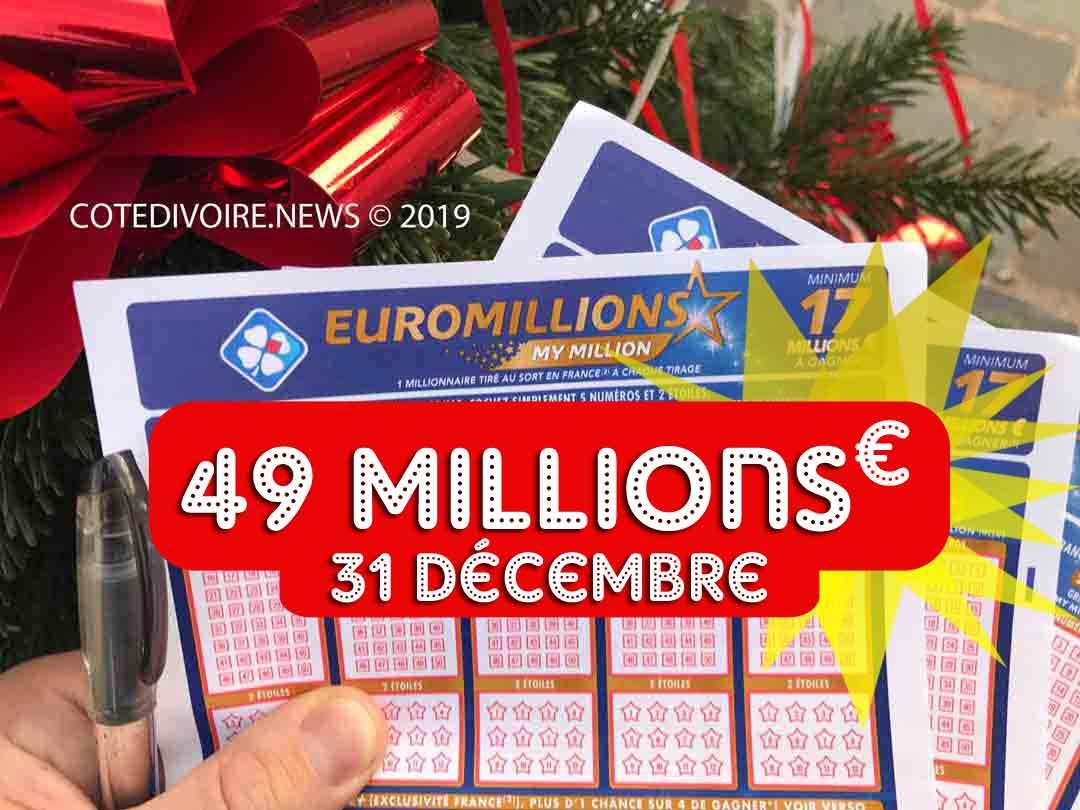 Euromillions mardi 31 12 19