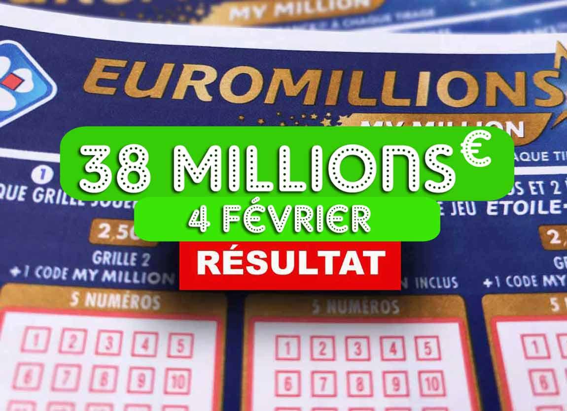 La grille avec sa cagnotte de l'Euromillion du 4 février 2020