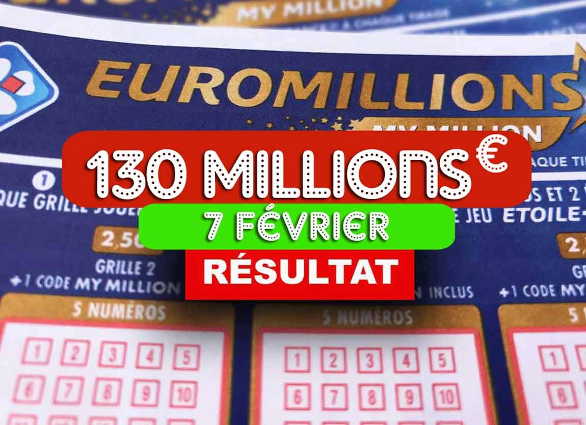 Résultat de l'Euromillion 07 02 2020
